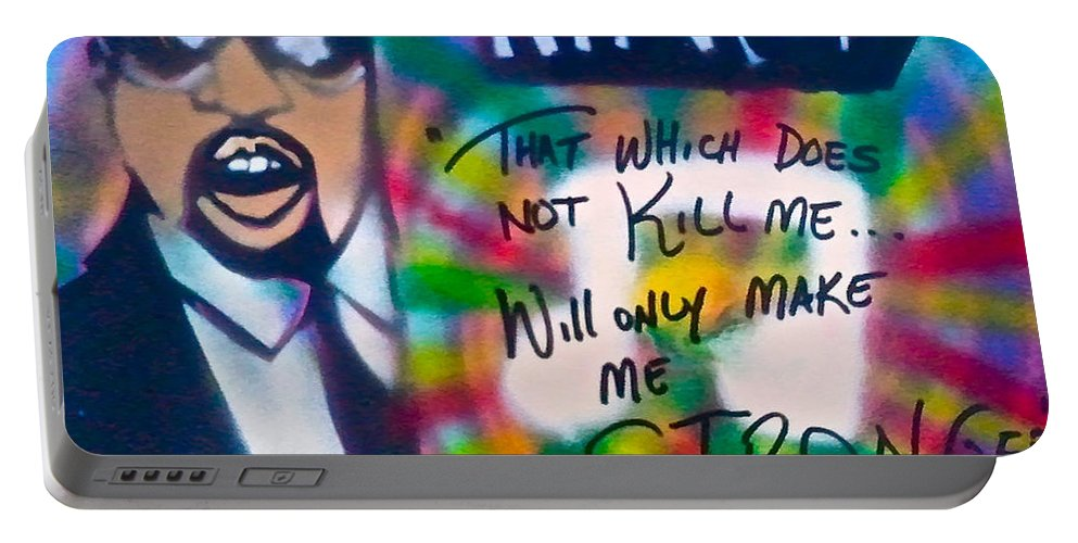 Hip Hop Portable Battery Charger featuring the painting Kanye West Stronger by Tony B Conscious
