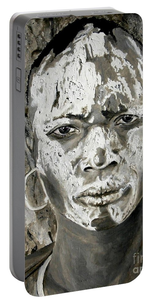 Tribal Art Portable Battery Charger featuring the painting Karo Man by Portraits By NC