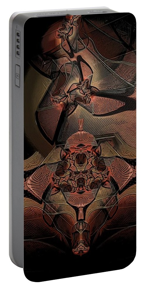 Abstract Portable Battery Charger featuring the digital art Karuta by Ron Bissett