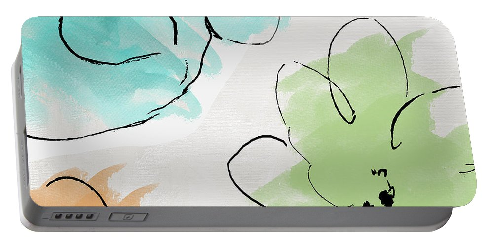 Abstract Portable Battery Charger featuring the painting Kasumi by Mindy Sommers
