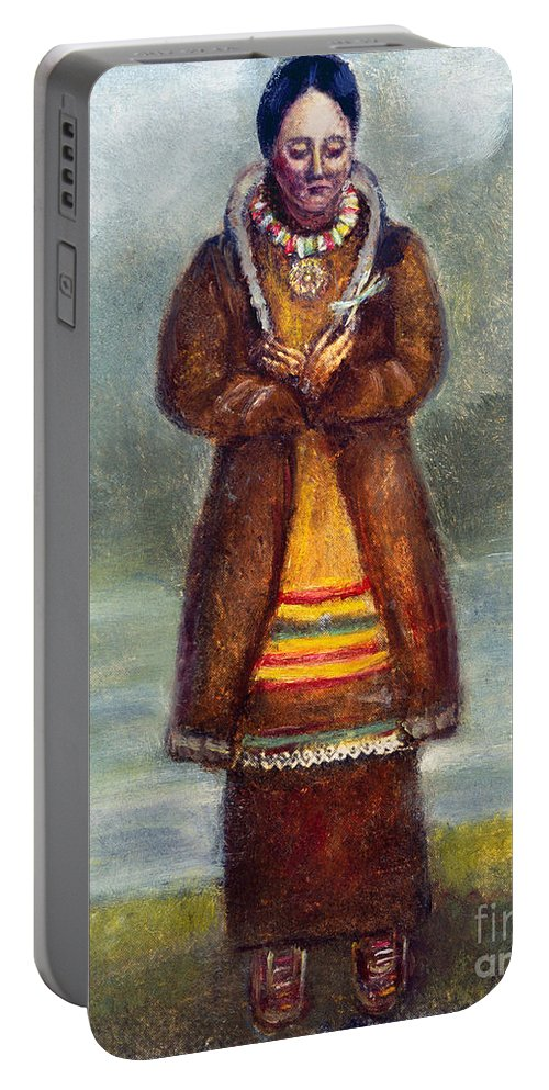 1681 Portable Battery Charger featuring the photograph Kateri Tekakwitha by Granger