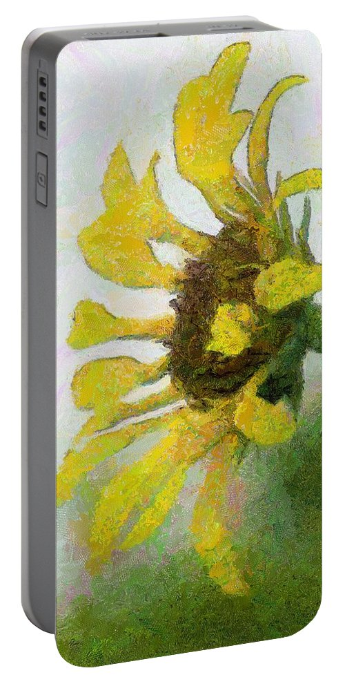 Sunflower Portable Battery Charger featuring the painting Kate's Sunflower by Jeffrey Kolker
