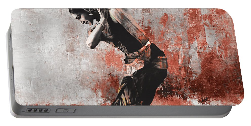 Dancer Portable Battery Charger featuring the painting Kathak Dancer by Gull G