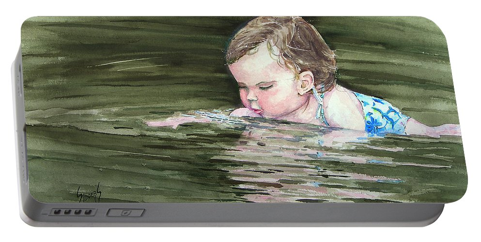 Child In River Portable Battery Charger featuring the painting Katie Wants A River Rock by Sam Sidders
