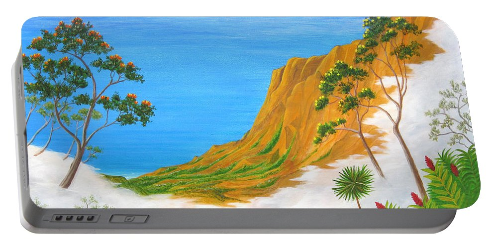 Landscape Portable Battery Charger featuring the painting Kauai Hawaii by Jerome Stumphauzer