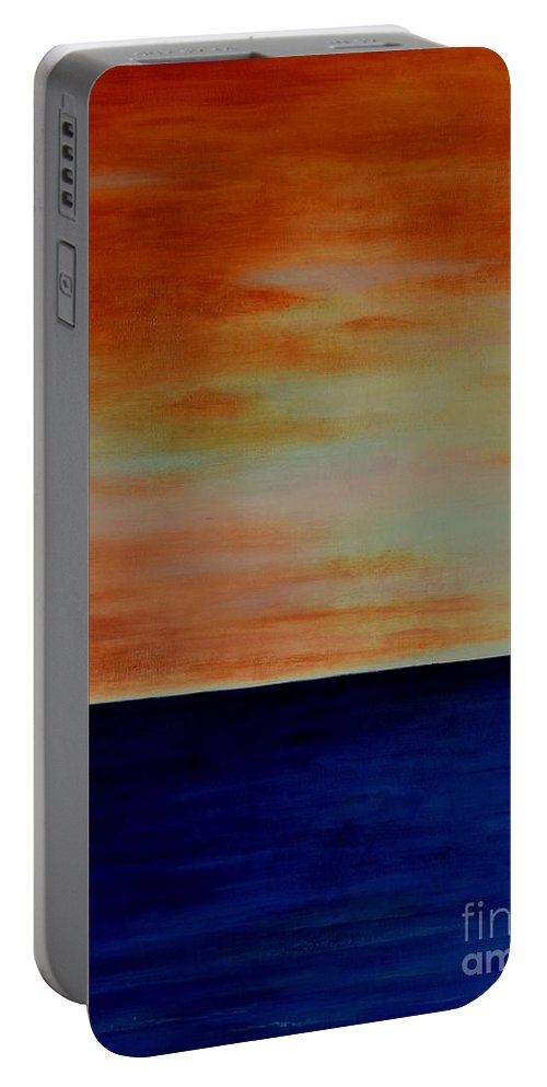Sunsets Portable Battery Charger featuring the painting Kauai Sunset Under Vog by Mary Deal