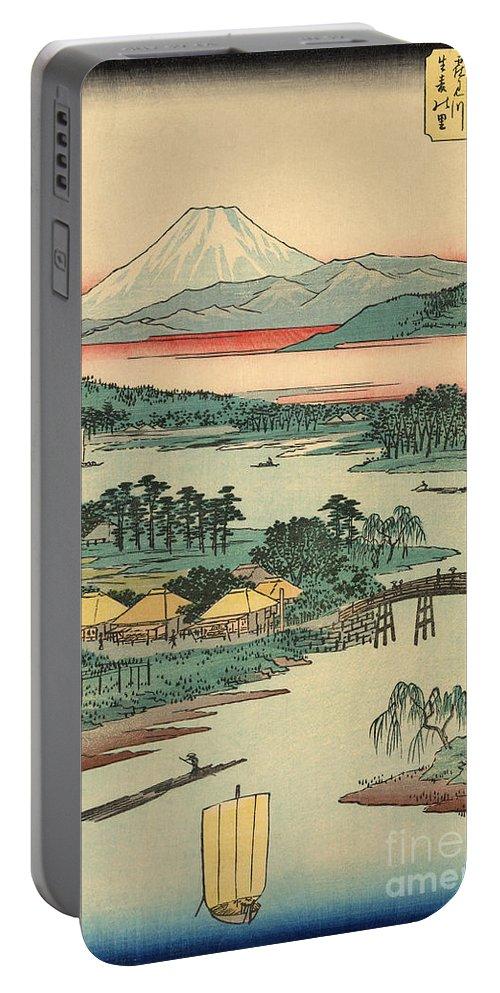 Kawasaki Portable Battery Charger featuring the painting Kawasaki by Utagawa Hiroshige