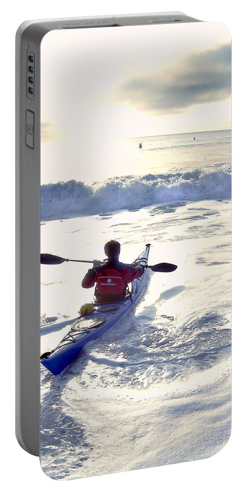 Kayaker Portable Battery Charger featuring the photograph Kayakers Sunrise by Robert Ponzoni