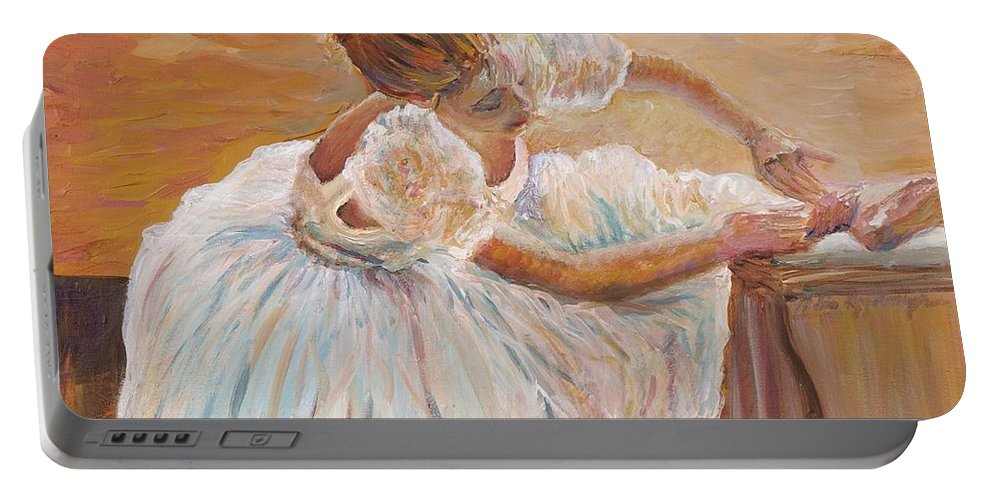 Dancer Portable Battery Charger featuring the painting Kaylea by Nadine Rippelmeyer