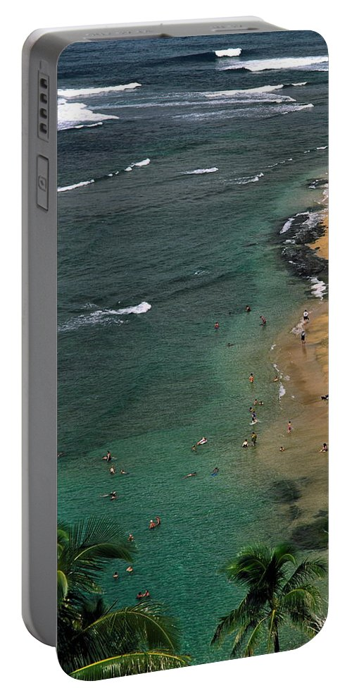 Ke'e Beach Overview Portable Battery Charger featuring the photograph Ke'e Beach Overview by Sally Weigand