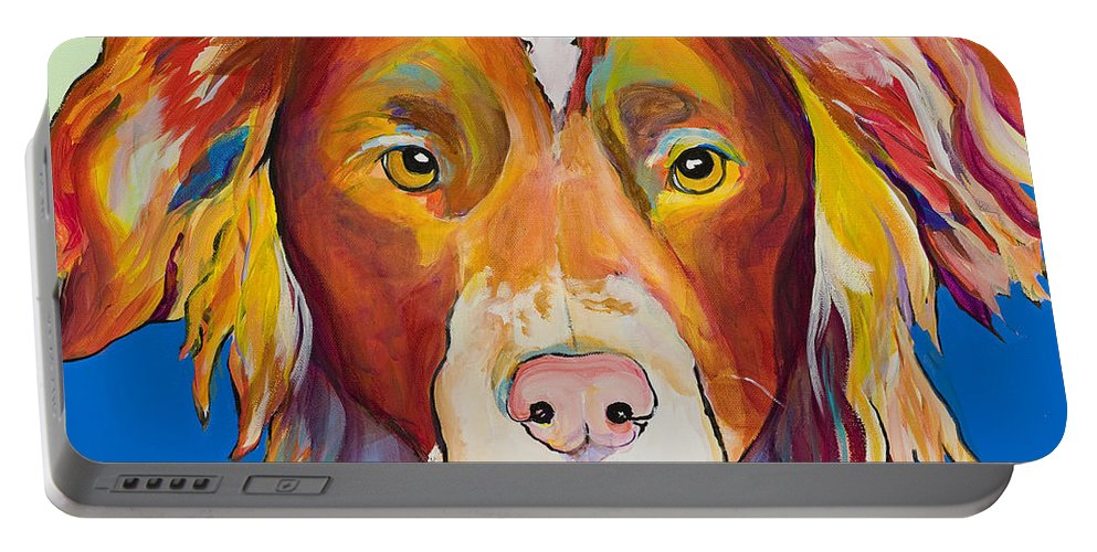 Australian Border Collie Portable Battery Charger featuring the painting Keef by Pat Saunders-White