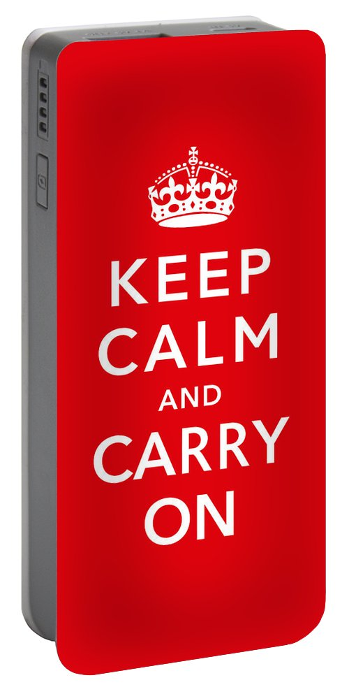 Britain Portable Battery Charger featuring the digital art Keep Calm And Carry On by War Is Hell Store