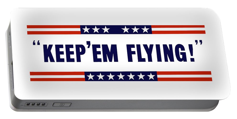 Us Air Corps Portable Battery Charger featuring the painting Keep 'em Flying by War Is Hell Store
