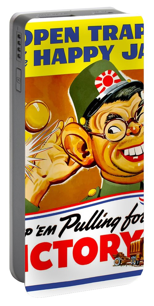 Hirohito Portable Battery Charger featuring the painting Keep Em Pulling For Victory - Ww2 by War Is Hell Store