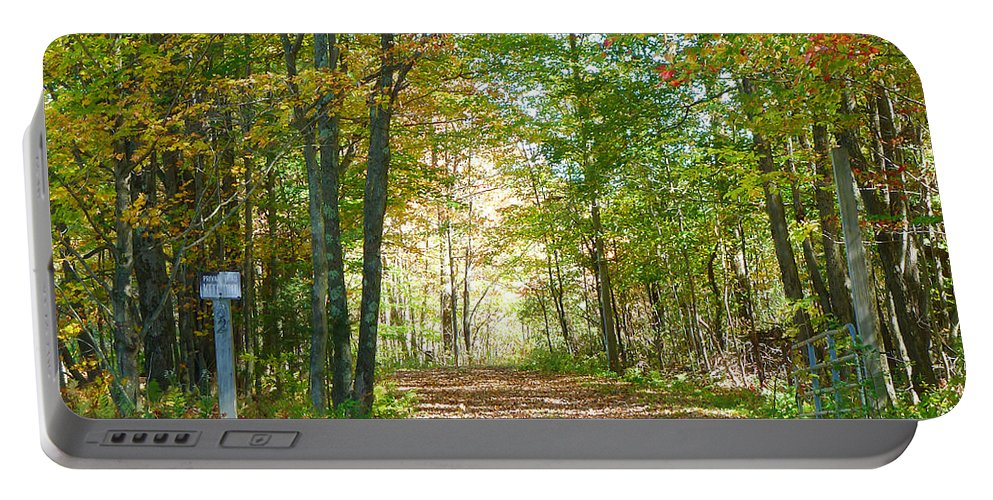 Autumn Portable Battery Charger featuring the photograph Keep Out by Deborah Benoit