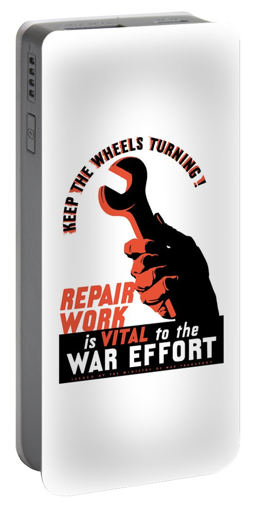 World War Ii Portable Battery Charger featuring the painting Keep The Wheels Turning - Ww2 by War Is Hell Store