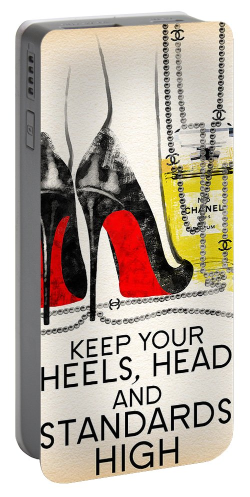 Coco Portable Battery Charger featuring the painting Keep Your Heels Head And Standards High by Diana Van