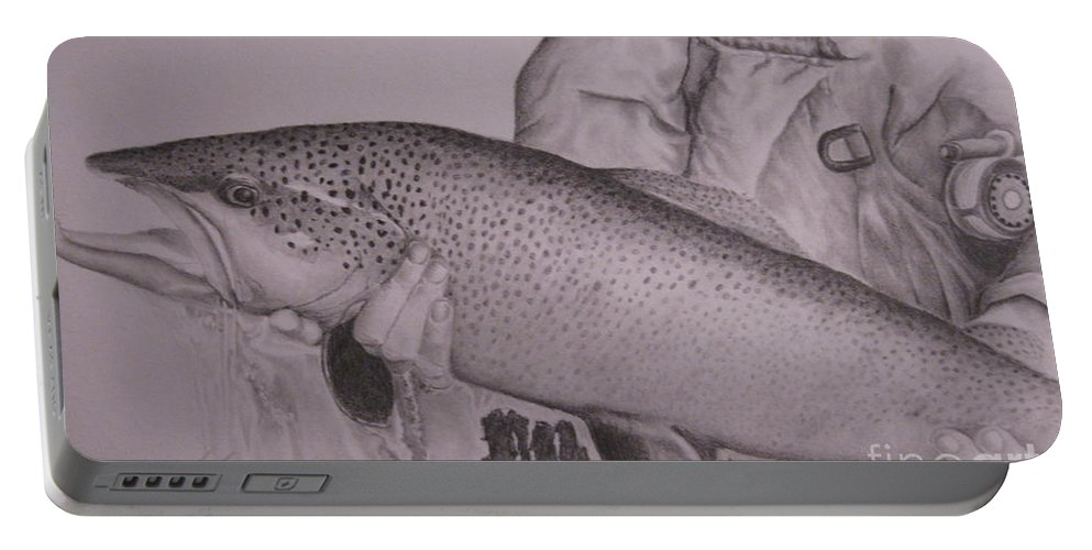 Wildlife Portable Battery Charger featuring the drawing Keeper by John Huntsman