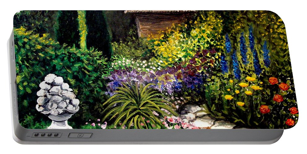 Landscape Portable Battery Charger featuring the painting Keeper Of The Garden by Elizabeth Robinette Tyndall