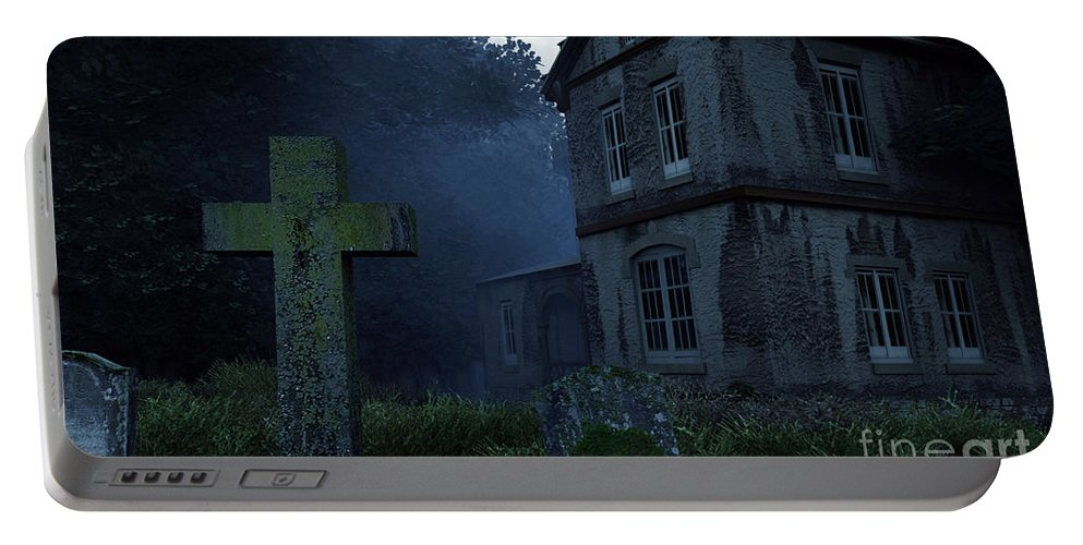 Dark Portable Battery Charger featuring the digital art Keepers Of The Manor by Richard Rizzo