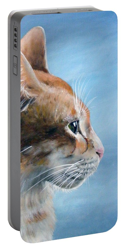 Acrylics Portable Battery Charger featuring the painting Keeping An Eye On You by Arie Van der Wijst