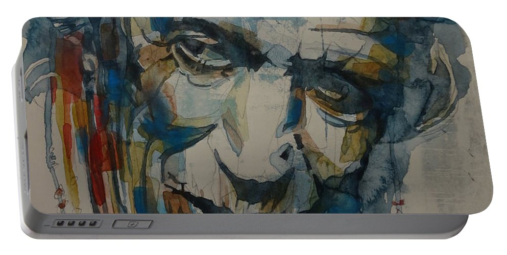 Rolling Stones Portable Battery Charger featuring the painting Keith Richards Art by Paul Lovering