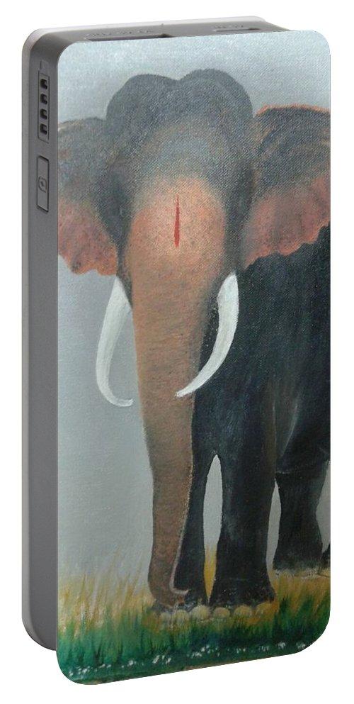 Kerala Elephant Portable Battery Charger featuring the painting Kerala Elephant by Natarajan Vengapur Govindasamy Pillai