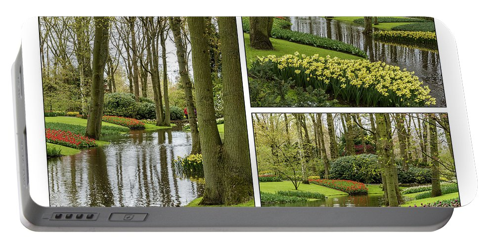 Keukenhof Portable Battery Charger featuring the photograph Keukenhof Collage by Jon Berghoff