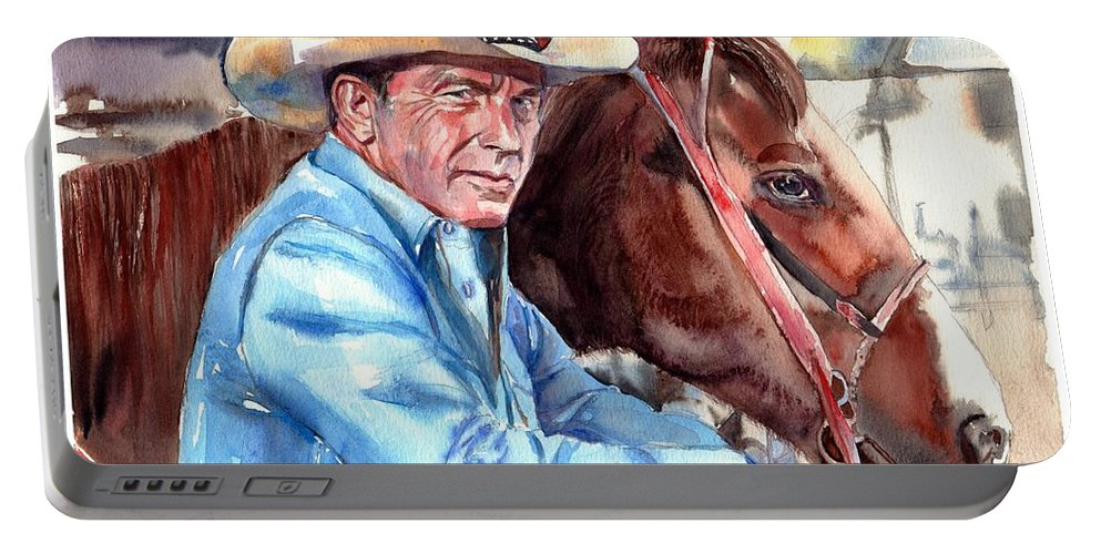 Kevin Portable Battery Charger featuring the painting Kevin Costner Portrait by Suzann Sines