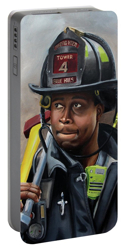 Firefighters Portable Battery Charger featuring the painting Kevin by Paul Walsh