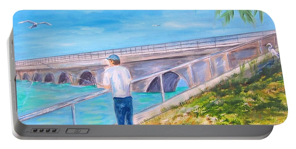 Man Portable Battery Charger featuring the painting Keys Fishin' by Linda Cabrera