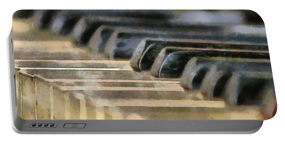 Piano Portable Battery Charger featuring the painting Keys To My Heart by Lynne Jenkins