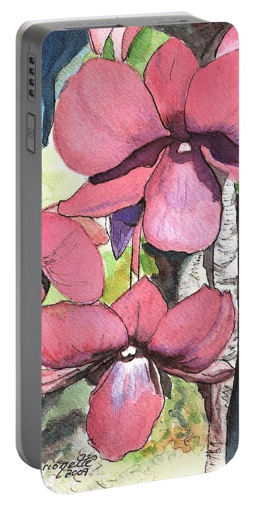 Orchid Portable Battery Charger featuring the painting Kiahuna Orchids by Marionette Taboniar