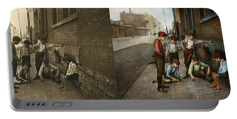 Gang Portable Battery Charger featuring the photograph Kids - Cincinnati Oh - A Shady Game 1908 - Side By Side by Mike Savad