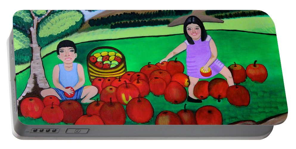 Designer Print Portable Battery Charger featuring the painting Kids Playing And Picking Apples by Lorna Maza
