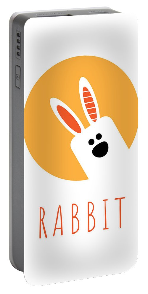 Rabbit Portable Battery Charger featuring the digital art Kids Rabbit Poster by Chris Campbell