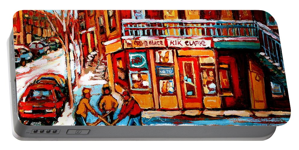Montreal Streetscene Portable Battery Charger featuring the painting Kik Cola Depanneur by Carole Spandau