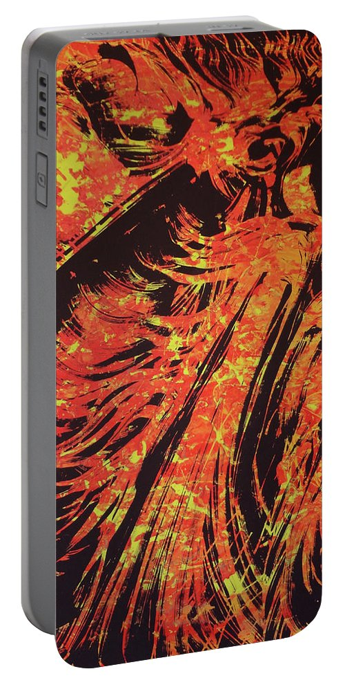Volcano Portable Battery Charger featuring the painting Kilaeua by Ethel Mann