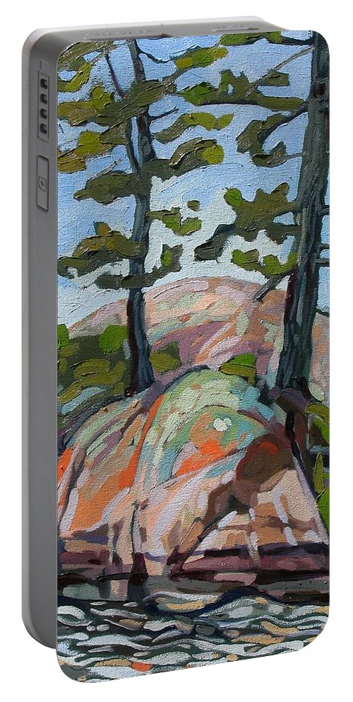 Killarney Portable Battery Charger featuring the painting Killarney Point- The Phlip Side by Phil Chadwick