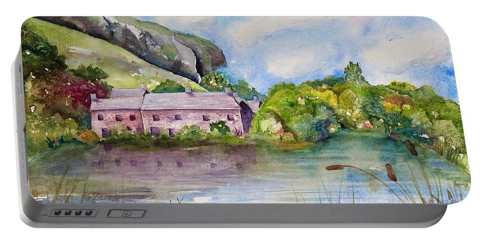 Landscape Portable Battery Charger featuring the painting Kilnsey Crag Wharfedale by Renee Chastant