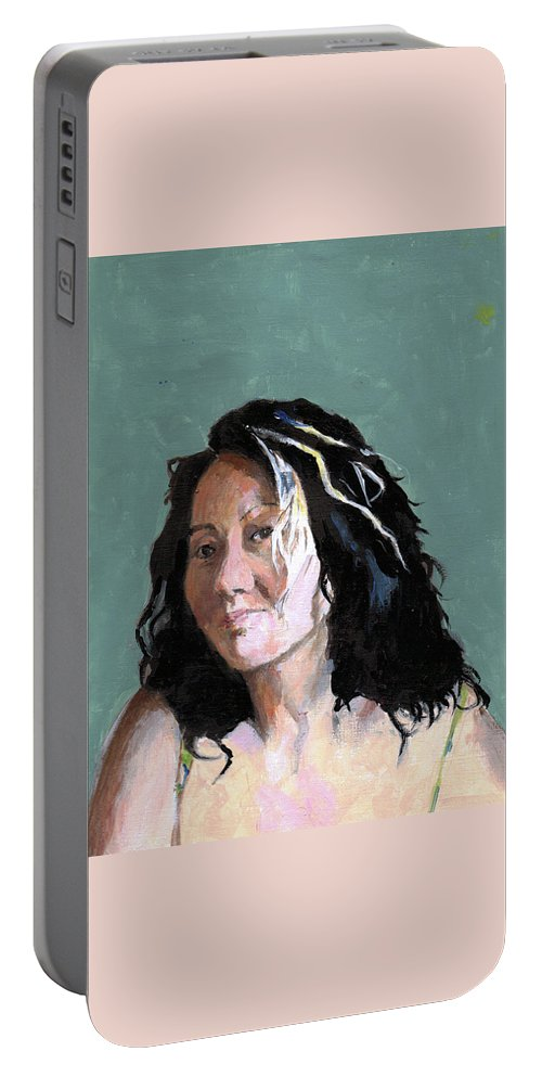 Portrait Portable Battery Charger featuring the painting Kimie In Acrylics by Richard Long