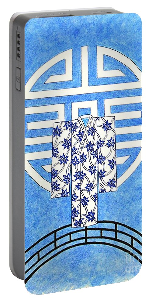 Kimono Portable Battery Charger featuring the drawing Kimono Bridge -- Stylized Asian Design by Jayne Somogy