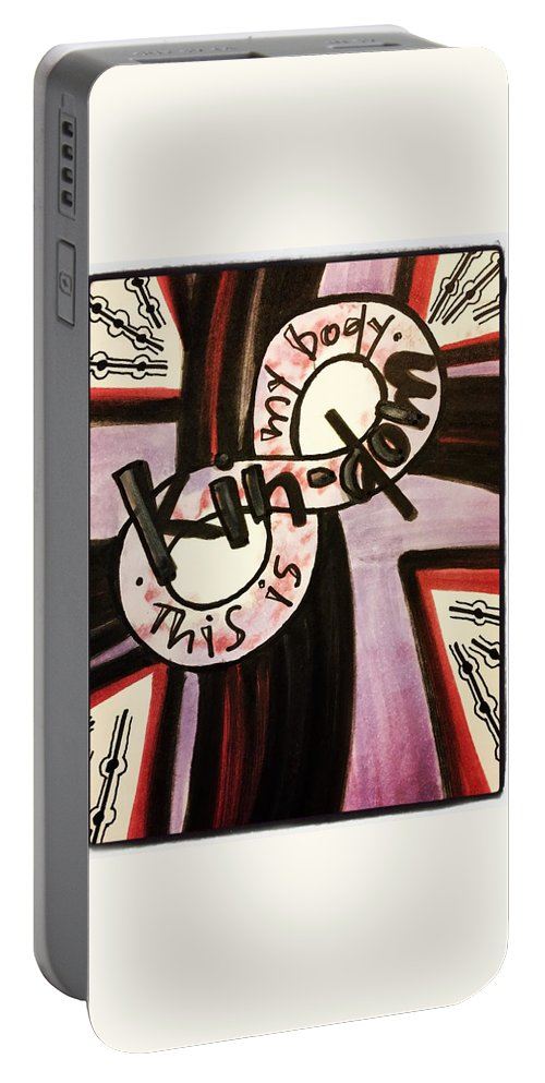 Kindom Portable Battery Charger featuring the painting Kin-dom by Vonda Drees