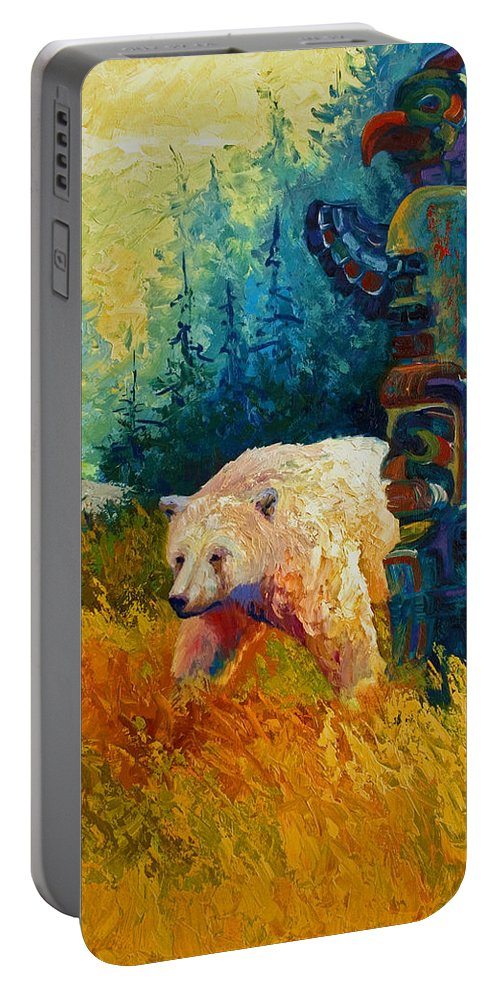 Western Portable Battery Charger featuring the painting Kindred Spirits - Kermode Spirit Bear by Marion Rose