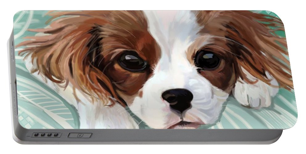 Puppy Portable Battery Charger featuring the digital art Spaniel Puppy Resting by Plum Ovelgonne