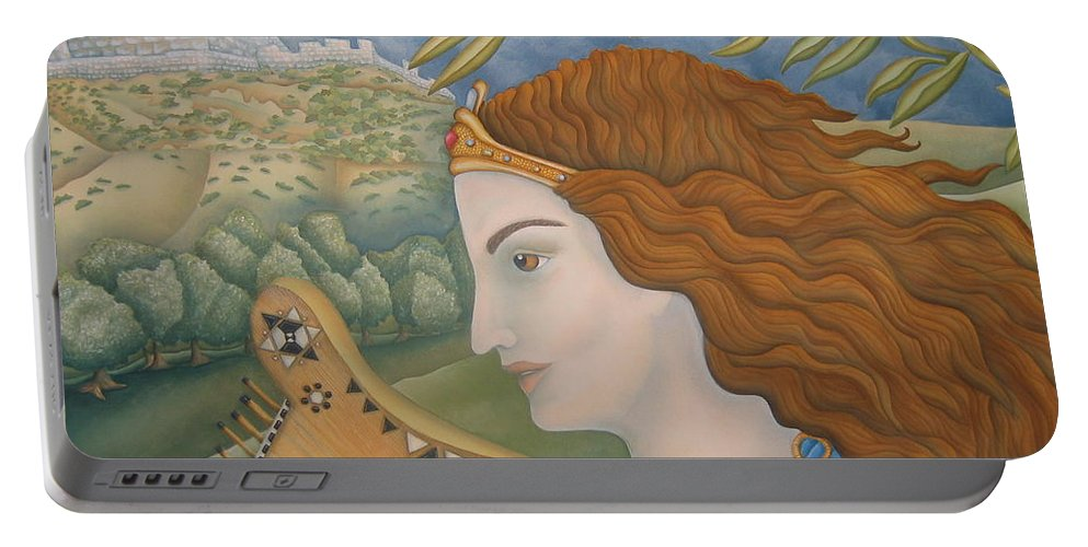Bible Portable Battery Charger featuring the painting King David In His Youth by Jeniffer Stapher-Thomas