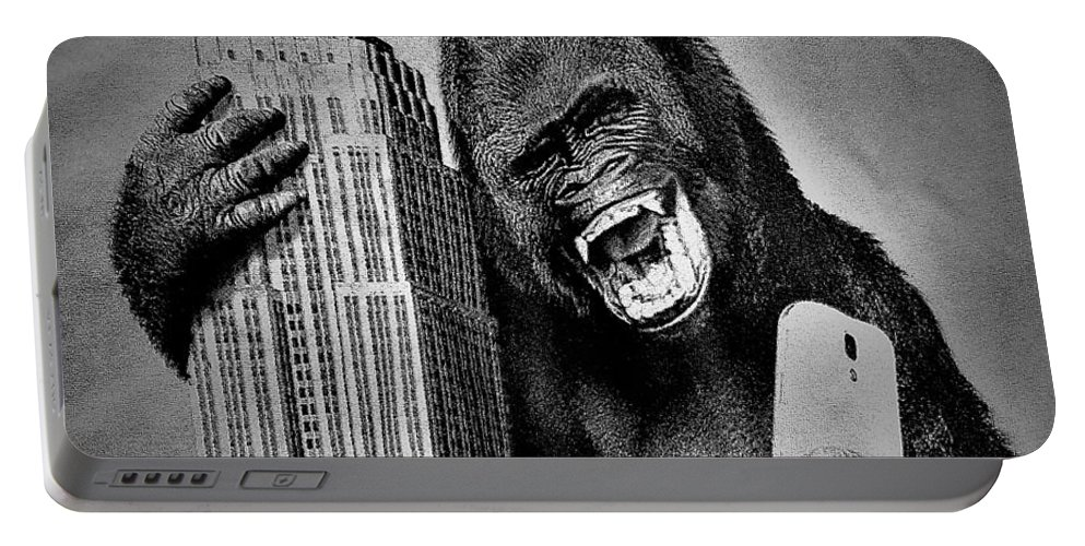Architecture Portable Battery Charger featuring the photograph King Kong Selfie B W by Rob Hans