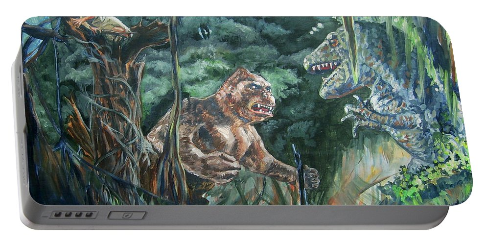 King Kong Portable Battery Charger featuring the painting King Kong Vs T-rex by Bryan Bustard