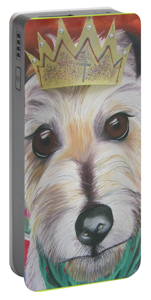 Dog Portable Battery Charger featuring the pastel King Louie by Michelle Hayden-Marsan
