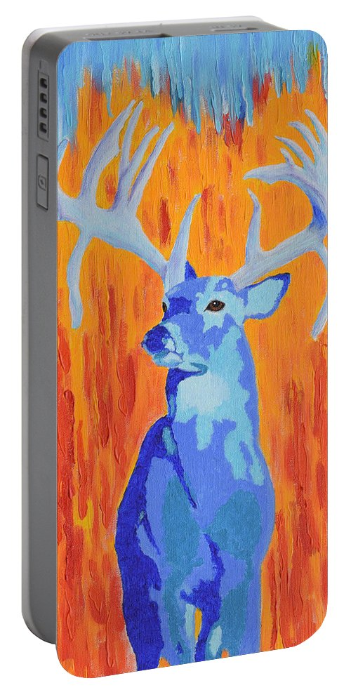 Whitetail Portable Battery Charger featuring the painting King Of The Fall by Belinda Nagy